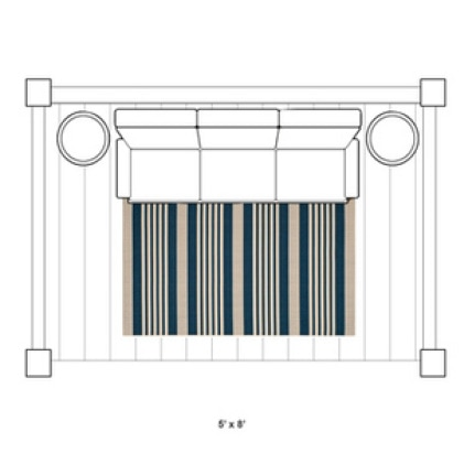 A 4' x 6' or 5' X 8' sized rug is best suited in front of a bench or sofa on your patio