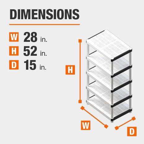 28 in. W x52 in. H x15 in. D plastic storage shelf