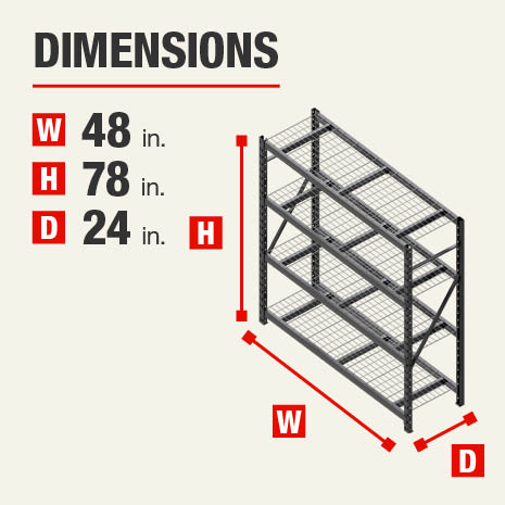 48 in. W x78 in. H x24 in. D steel storage shelves