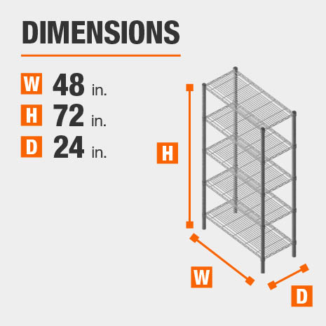 48 in. W x72 in. H x24 in. D heavy duty shelves
