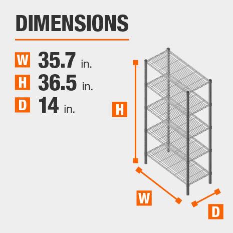35.7 in. W x36.5 in. H x14 in. D heavy duty shelves