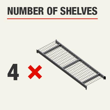 Shelving unit includes 4 tier