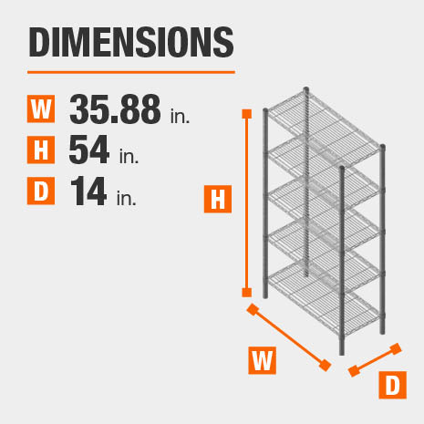 35.88 in. W x54 in. H x14 in. D heavy duty shelves