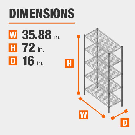 35.88 in. W x72 in. H x16 in. D heavy duty shelves
