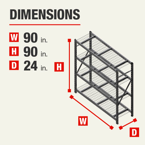 90 in. W x90 in. H x24 in. D steel storage shelves