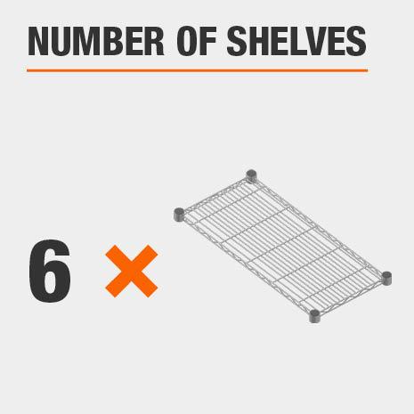 Shelving unit includes 6 tiers