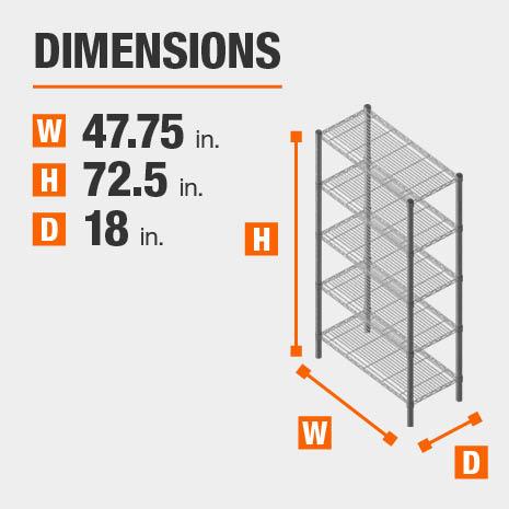 47.75 in. W x72.5 in. H x18 in. D heavy duty shelves