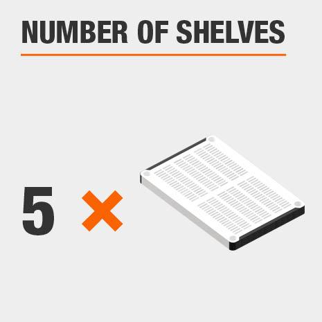 Shelving Unit includes 5 tiers