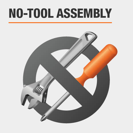 No tools needed for assembly of storage shelving unit