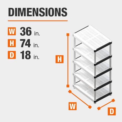 36 in. W x74 in. H x18 in. D plastic storage shelf