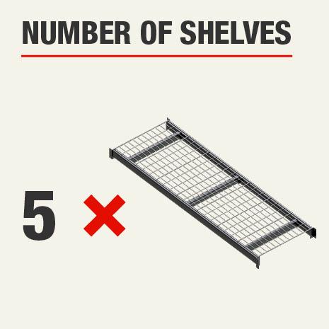 Shelving unit includes 5 tier