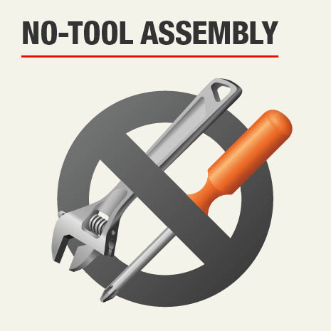 No tools needed for assembly of wire metal shelves