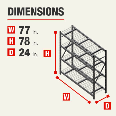 77 in. W x78 in. H x24 in. D steel storage shelves