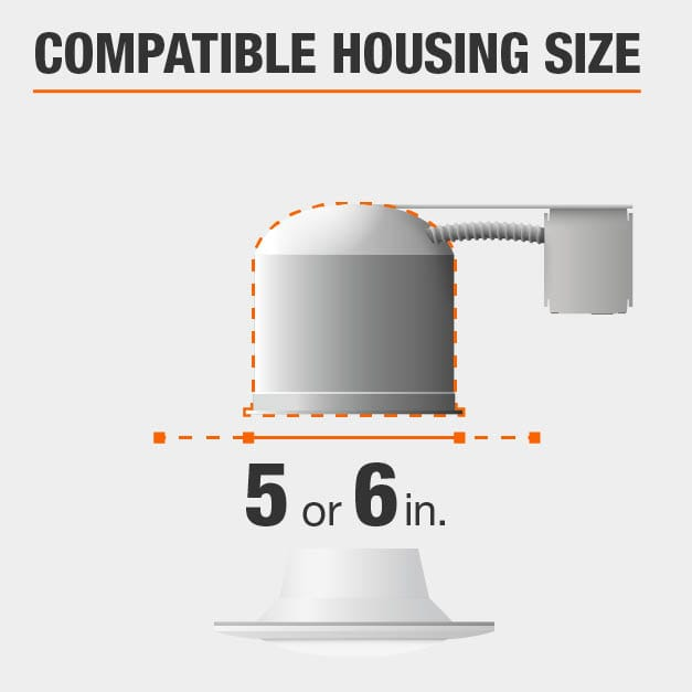 Maximum cut out size for recessed light 5 or 6 inches