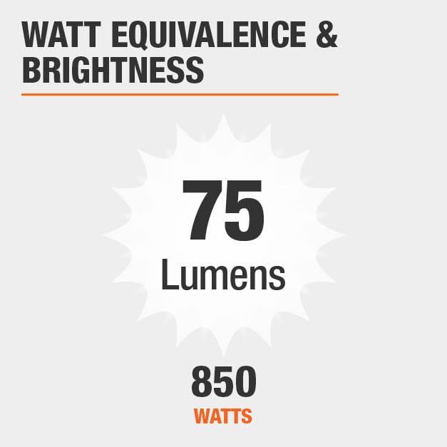 850 Watt equivalence and 75 Lumen brightness