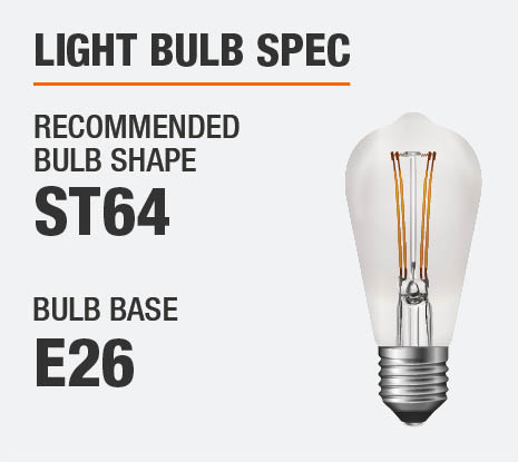 The Recommended Bulb Shape is ST64 and the Bulb Base E26