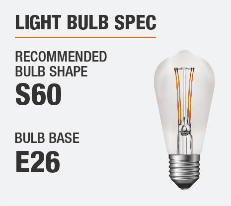 The Recommended Bulb Shape is S60 and the Bulb Base E26