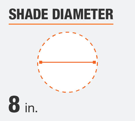 The shade diameter for this product is 8 in
