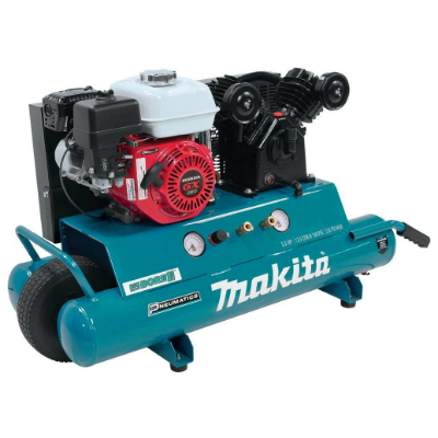 Gas-powered air compressors have high output and more mobility. No need to plug into a power source