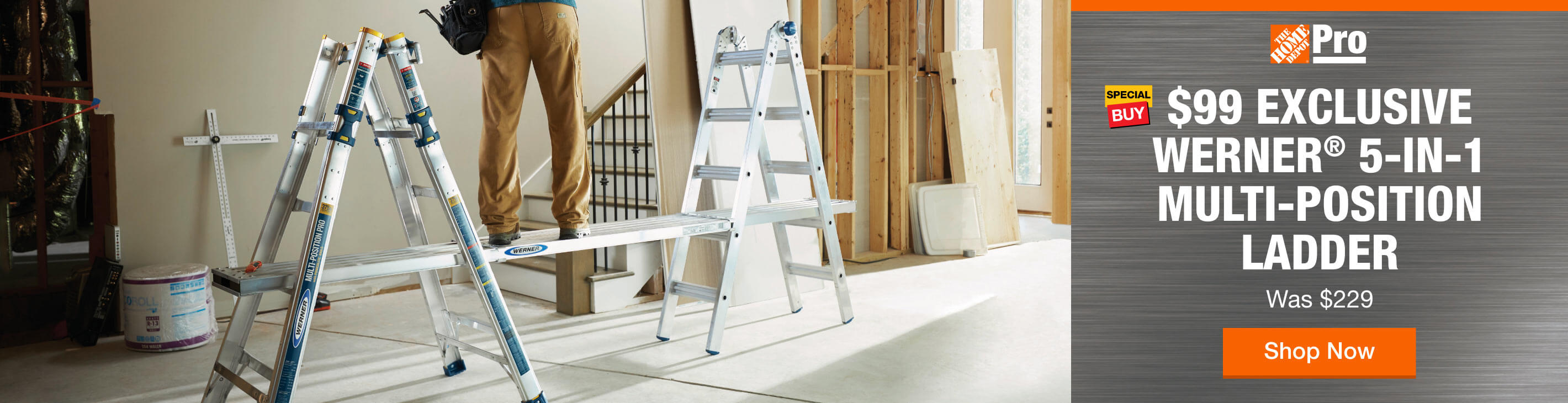 Pro using Werner 5-in-1 multi-position ladder as a scaffold