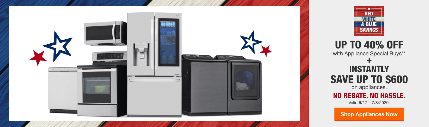 Red White and Blue Appliance Savings