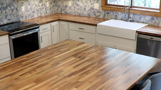 Check our inventory of ready-to-ship butcher block, solid surface and laminate countertops