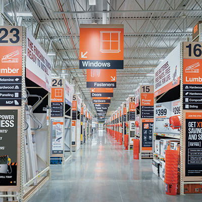 Home Depot store aisles