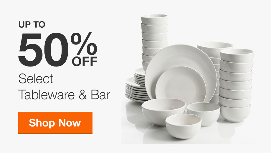 Up to 50% Off Select Tableware & Bar