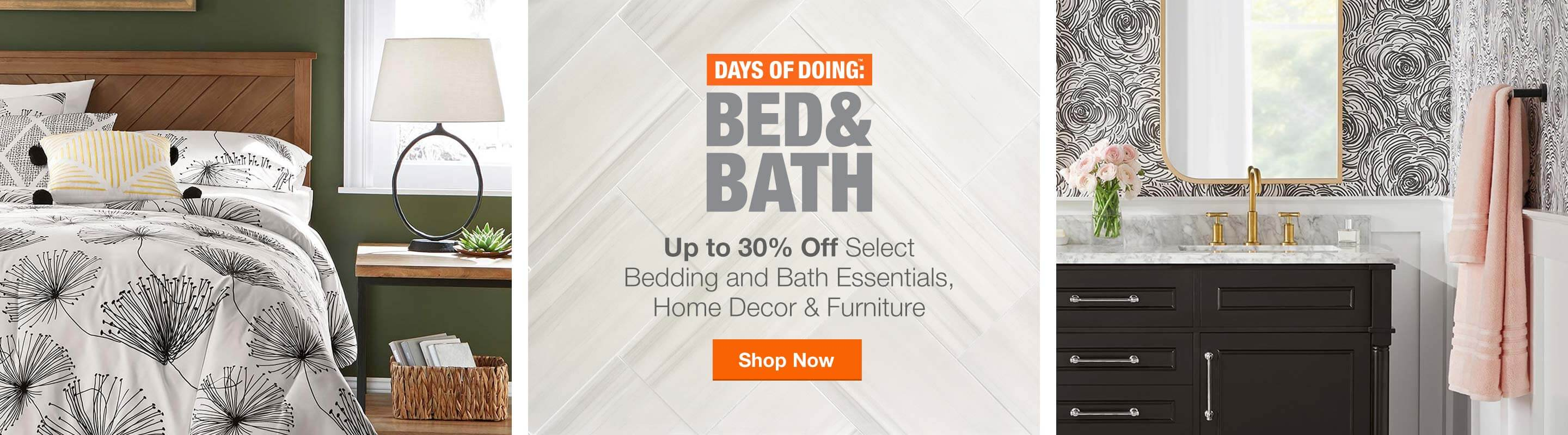 Up to 30% Off Select Bedding & Bath Essentials, Home Decor & Furniture