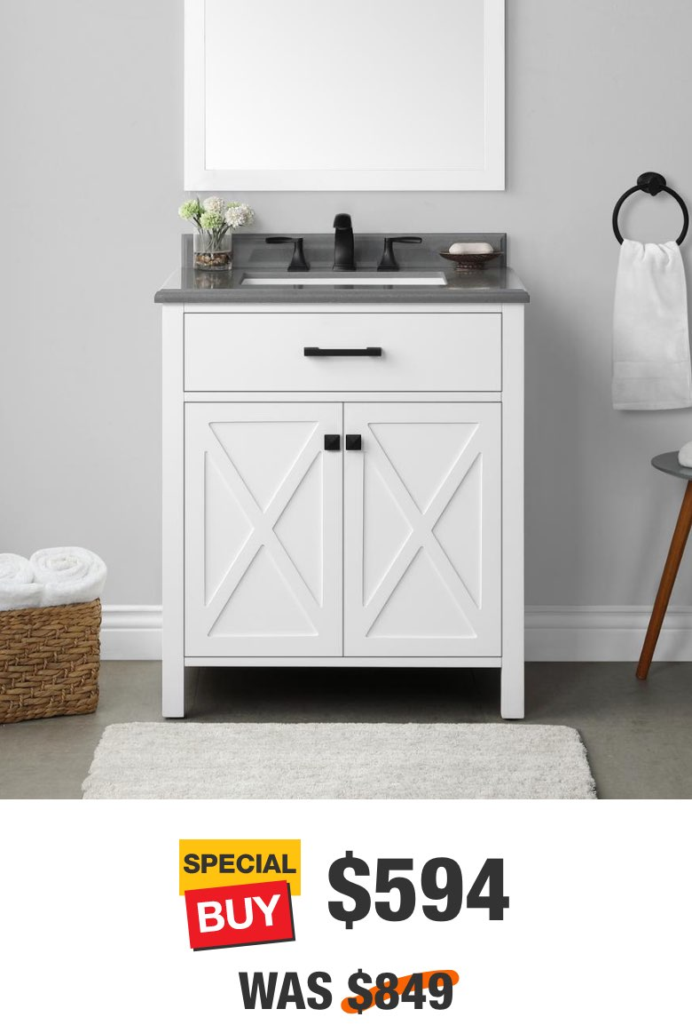 Ainsley 36 in. White Vanity with Cultured Stone Top