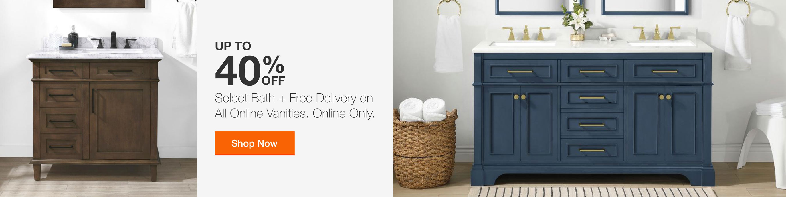 Select Bath + Free Delivery on All Online Vanities. Online Only.