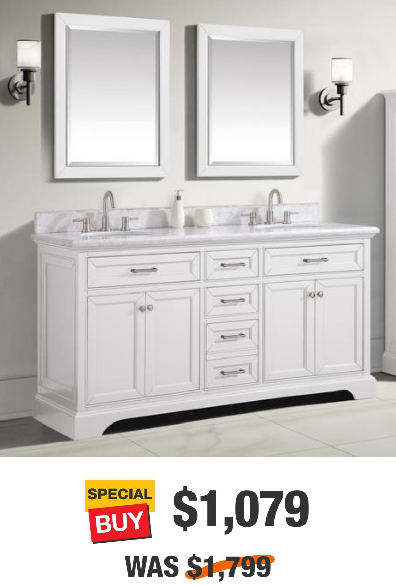 Windlowe 73 in. White Vanity with Carrara Marble Top
