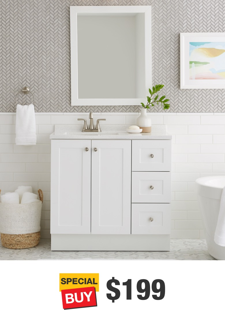 Bannister 36 in. White Vanity with Colorpoint Top