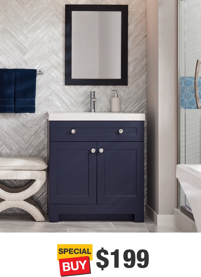 Everdean 30 in. Deep Blue Vanity with Cultured Marble Top