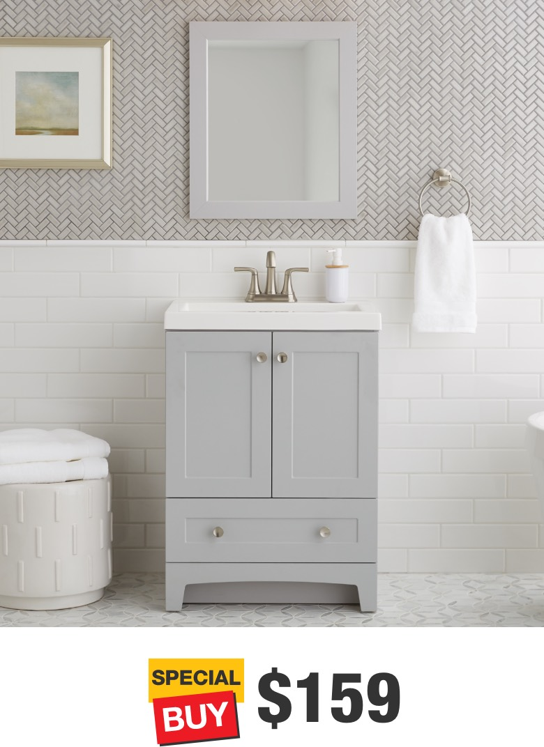 Thornbriar 24 in. Pearl Gray Vanity with Cultured Marble Top