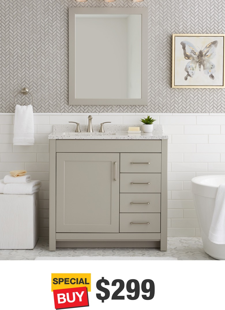 Westcourt 36 in. Gray Vanity with Solid Surface Top