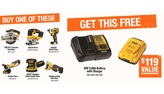 FREE 3.0AH BATTERY & CHARGER WITH PURCHASE OF SELECT DEWALT TOOL