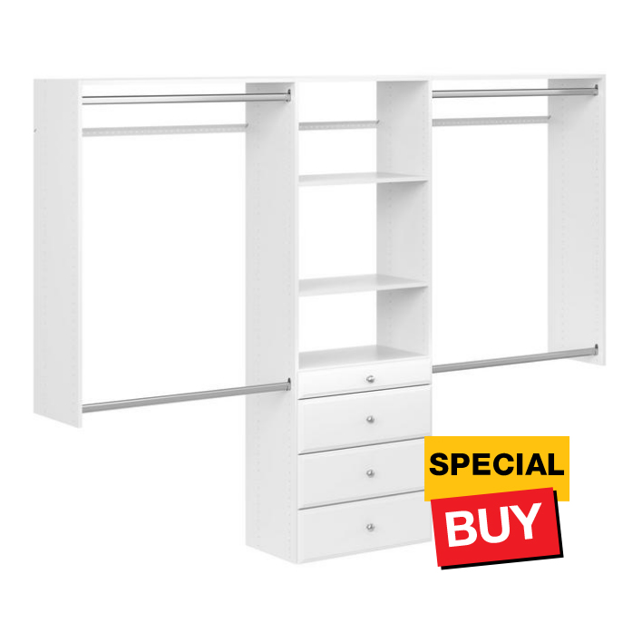 96 in. W White Wood Closet System