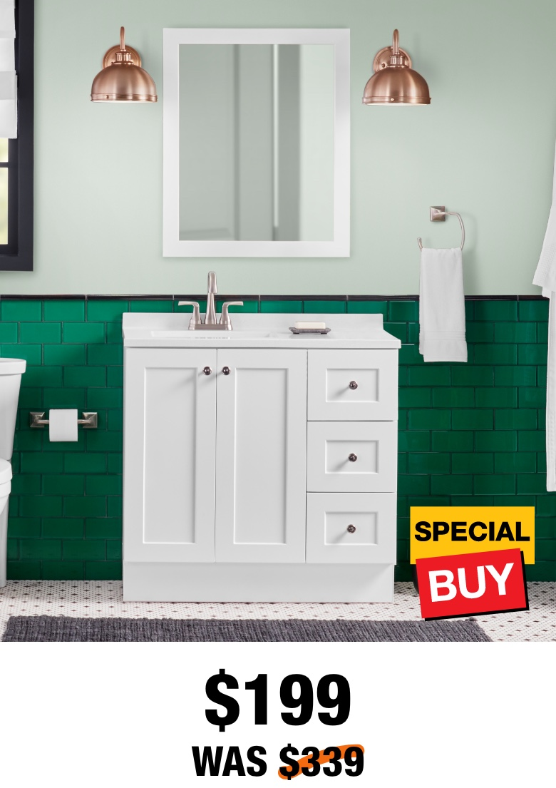 Exclusive Bannister 37 in. Vanity with Top & Mirror