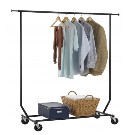 Keeps clothes organized anywhere - mud rooms, studio apartments. Comes in handy when your'e out closet space.