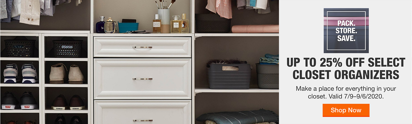 Up to 25% Off Select Closet Organizers