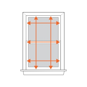 Measure in three places for width – top, middle and bottom. Then again for  height – left, middle and right.