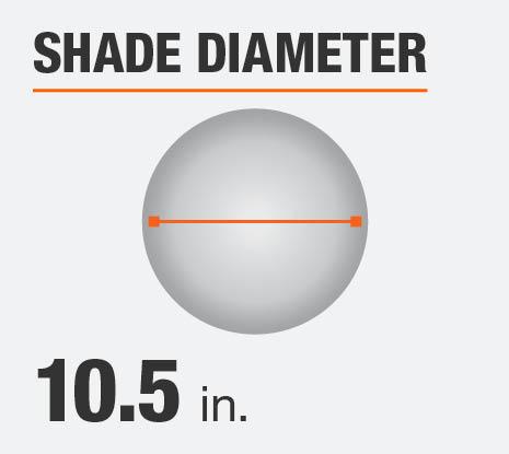 The shade diameter for this product is 10.5 in.