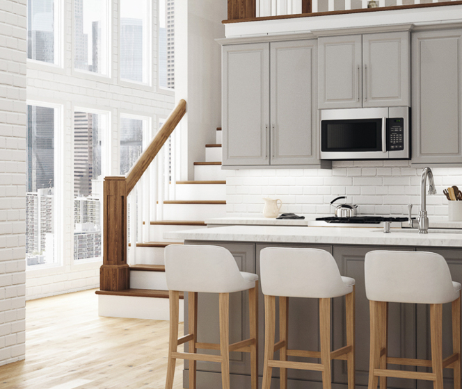 Hampton Bay Designer Series  Elgin Heron Gray Cabinets
