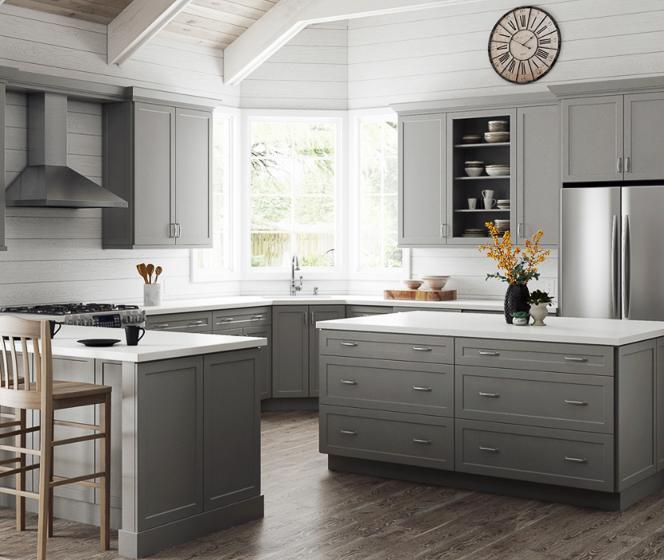 Hampton Bay Designer Series Melvern Heron Gray Cabinets