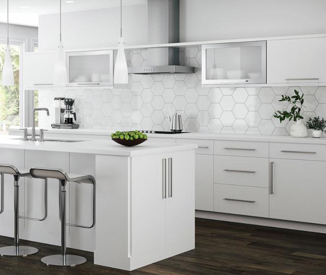 Hampton Bay Designer Series Edgeley White Cabinets