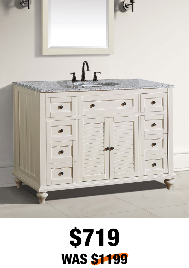Hamilton Shutter 49-1/2 in. Ivory Vanity with Granite Top