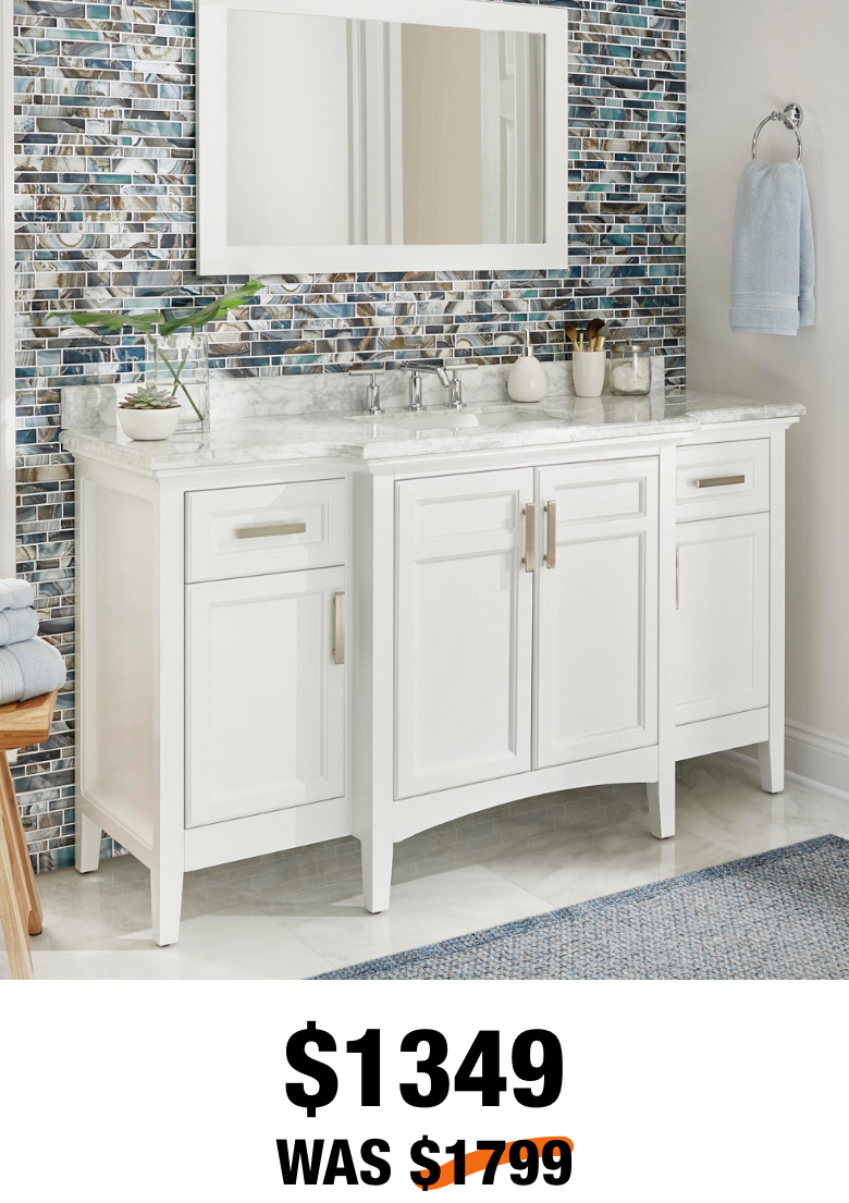 Sassy 60 in. White Vanity with Marble Top