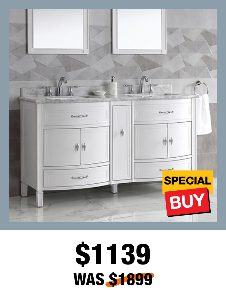 Exclusive Dacosti 60 in. White Vanity with Top?