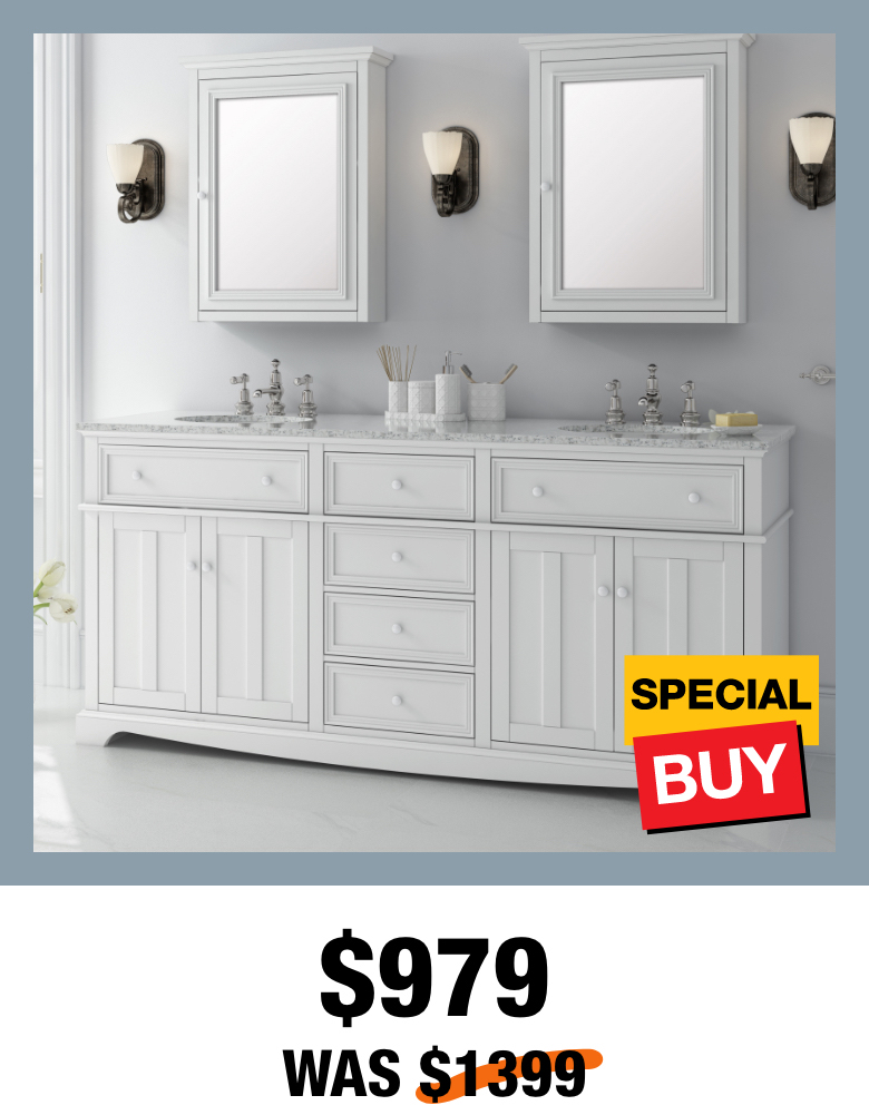 Exclusive Fremont 72 in. White Vanity with Top
